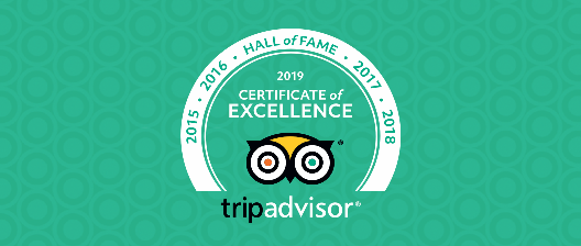 Tripadvisor Certificate of Excellence 2019 - Hall of Fame